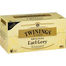 TWININGS Original earl grey, thé aromatisé bergamote 25 sachets 50g