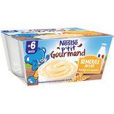 Nestlé Nestlé P'tit gourmand pot dessert à la semoule au lait dès 6 mois 4x100g