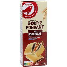 AUCHAN Goûters fondants fourrés au chocolat 12 biscuits 225g