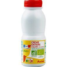 AUCHAN BIO Crème fluide entière 30% UHT 25cl