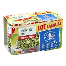 Auchan Haricots verts extra fins 2x440g