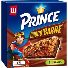 PRINCE Choco barre, barres de céréales au chocolat 6 barres 125g