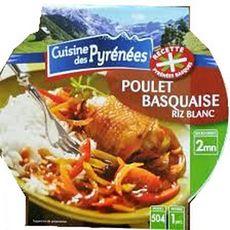 CUISINE DES PYRENEES Poulet basquaise et riz blanc 1 personne 300g