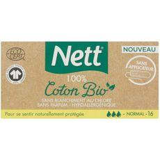 NETT Nett Tampons écologiques 100% coton bio sans applicateur normal x16 16 tampons