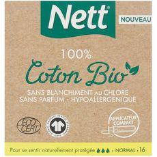 Nett Tampons écologiques 100% coton bio avec applicateur normal x16