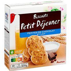 AUCHAN Biscuits petit-déjeuner aux pépites de chocolat et lait, sachets fraîcheur 12x4 biscuits 600g