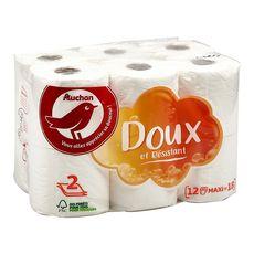 AUCHAN Papier toilette blanc maxi doux & résistant 2 épaisseurs = 18 standards 12 rouleaux
