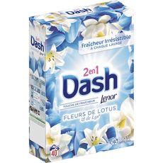 DASH Lessive poudre 2 en 1 fleurs de lotus et lys 40 lavages 2,6kg