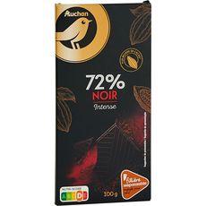 Auchan Gourmet tablette de chocolat noir 72% filière responsable 100g