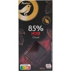 AUCHAN GOURMET Tablette de chocolat noir corsé 85% 100g