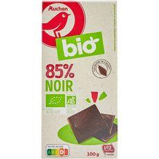 AUCHAN BIO Tablette de chocolat noir 85% 100g