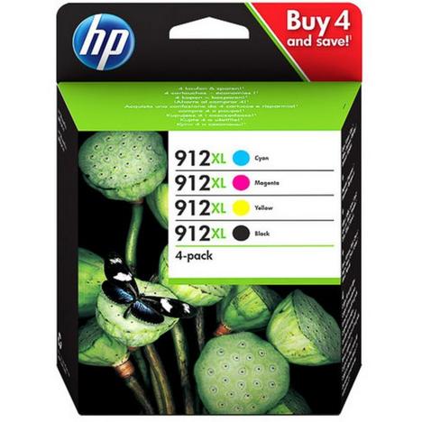 HP Pack de 4 Cartouches d'Encre HP 912XL Noire, Cyan, Magenta, Jaune grandes capacités Authentiques (3YP34AE) pour HP OfficeJet Pro 8010 series / 8020 series