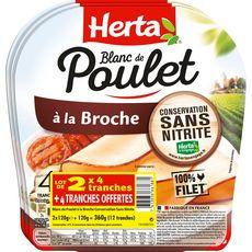 Herta Blanc de poulet à la broche sans nitrite 2x4 tranches +1 offert 360g
