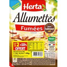 HERTA Herta Allumettes fumées au bois de hêtre 2x200g+10% offert 2x200g+10% offert