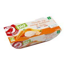 AUCHAN BABY BIO Bol carottes, riz, courge butternut et dinde bio dès 6 mois 2x200g