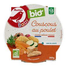 AUCHAN BABY BIO Assiette de couscous au poulet dès 18 mois 260g