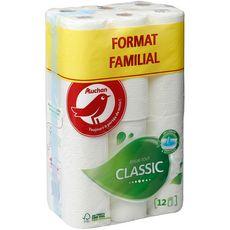AUCHAN Essuie-tout blanc classic format familial 12 rouleaux