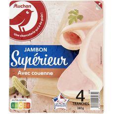Auchan Jambon supérieur avec couenne 4 tranches 180g