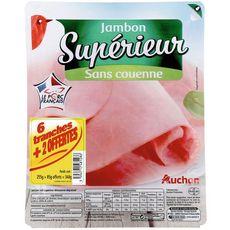 Auchan Jambon supérieur dégraissé découenné 6 tranches +2 offertes 340g