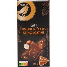 Gourmet AUCHAN GOURMET Tablette chocolat lait praliné et éclats de nougatine filière responsable