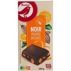 AUCHAN Tablette de chocolat noir orange intense 180g