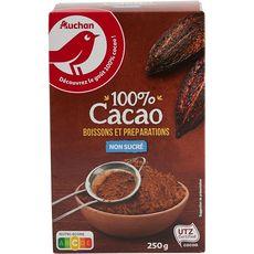 AUCHAN Chocolat en poudre 100% pur cacao non sucré 250g
