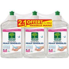 L'ARBRE VERT Liquide vaisselle peaux sensibles 3x500ml dont 1 offert