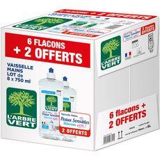L'Arbre Vert liquide vaisselle peau sensible 6x750ml +2offer