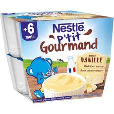 Nestlé NESTLE P'tit gourmand petit pot dessert lacté vanille dès 6 mois
