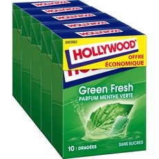 Hollywood chewing-gum en dragées green fresh parfum menthe verte x5 70g