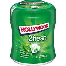 HOLLYWOOD 2 fresh chewing-gums sans sucres menthe verte chlorophylle 40 dragées 88g