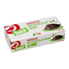 AUCHAN BIO Mousse au chocolat noir 2x70g