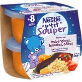 Nestlé Nestlé P'tit souper bol aubergines tomates et pâtes dès 8 mois 2x200g