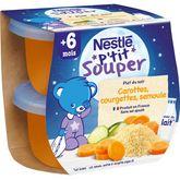 Nestlé Nestlé P'tit souper bol carottes courgettes et semoule dès 6 mois 2x200g