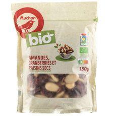 AUCHAN BIO Auchan Bio Mix fruits secs amandes cranberries raisin 150g 150g