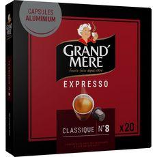 GRAND'MERE Café expresso classique n°8  20 capsules 104g
