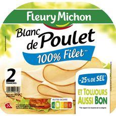 Fleury Michon Blanc de poulet -25% de sel 2 tranches 80g