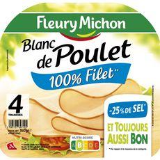 Fleury Michon Blanc de poulet -25% sel 4 tranches 160g