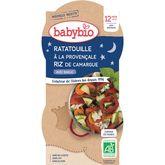 Babybio Babybio Assiette ratatouille à la provenèale et riz dès 12 mois 2x200g