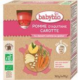 Babybio Babybio Gourde dessert pomme et carotte dès 6 mois 4x90g