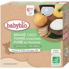 Babybio Gourde dessert brassé coco pomme poire  dès 6 mois 4x85g