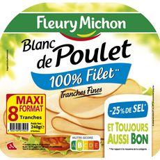 Fleury Michon Blanc de poulet 100% filet -25% de sel 8 tranches fines 240g