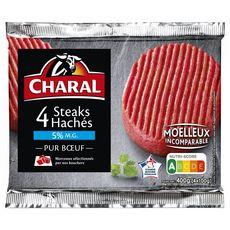 CHARAL Hachés Pur Bœuf 5%mg 4 pièces 400g