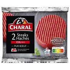 CHARAL Steaks Hachés Pur Bœuf 15%mg 2 pièces 260g