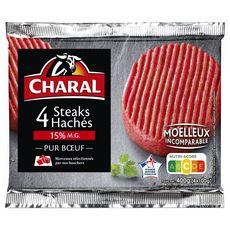CHARAL Steaks Hachés Pur Bœuf 15%mg 4 pièces 400g