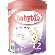 BABYBIO Optima 2 lait 2ème âge en poudre dès 6 mois 800g