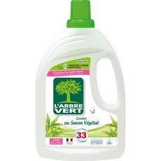 L'ARBRE VERT Lessive liquide au savon végétal 33 lavages 1,5l