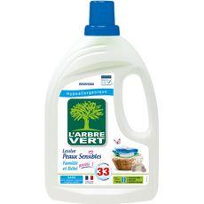 L'ARBRE VERT Lessive liquide peaux sensibles et bébé 33 lavages 1,5l