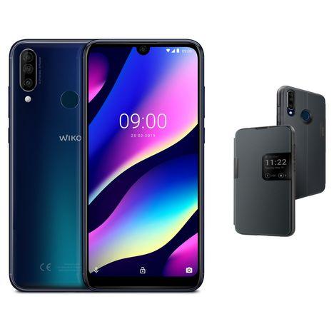 WIKO Pack Smartphone View3 Bleu 64 Go 6.26 pouces + Étui à rabat smart folio gris
