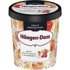 HAAGEN DAZS Pot de crème glacée à la pêche blanche et sauce framboise 400g